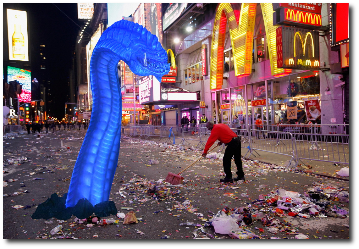 Purple Worm in Times Square