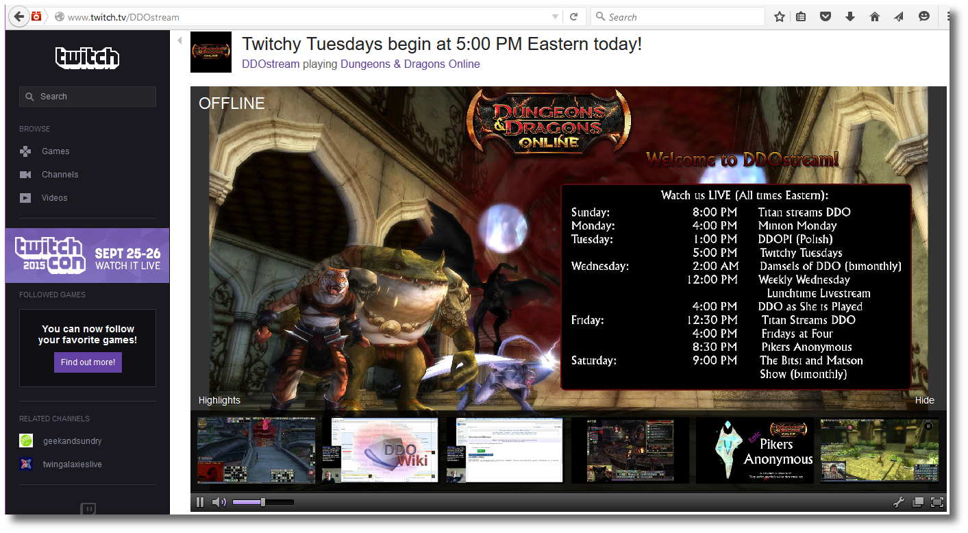 DDO on Twitch TV