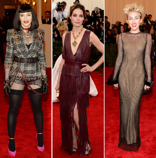 Singer Madonna, actor Michelle Monaghan, singer Miley Cyrus