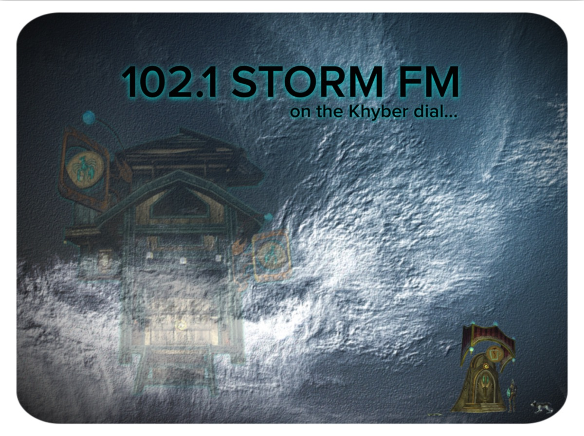 You are listening to... 102.1 Storm FM. On the Khyber dial... dial... dial...
